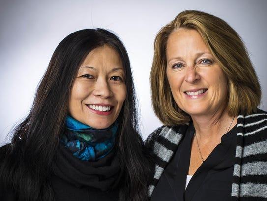 Mara Gubuan, left, of New York and Susan Bunz of Des