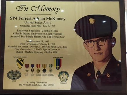 US-Army-Pfc.-Forrest-Adrian-McKinney, 20, of Plymouth, was honored Tuesday at Plymouth High School. His classmates in the Class of 1965, provided the school with this plaque. McKinney was injured in combat and later died in 1967. He was only 20.