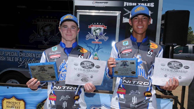 Bolivar High School's Andrew Johnson (left) and John Hubbert won the high school division of the National Youth Fishing Association South Division Championship Sunday at Pomme de Terre Lake.