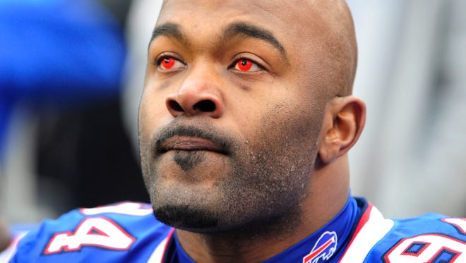Bills defensive end Mario Williams wore color contacts for Sunday's game at home against Kansas City.