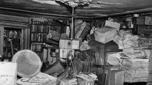 Clutter is piled high in the Collyer brothers' brownstone home in Harlem, New York City, 1947.
