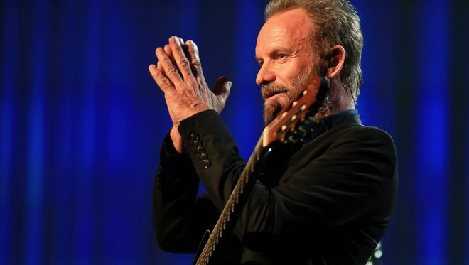 """Getty Images Sting is among the latest additions to the Big Gig. He?ll play with Peter Gabriel on July 10. LOS ANGELES, CA - NOVEMBER 18:  Recording artist Sting performs onstage at A+E Networks """"Shining A Light"""" concert at The Shrine Auditorium on November 18, 2015 in Los Angeles, California.  (Photo by Christopher Polk/Getty Images for A+E Networks)"""
