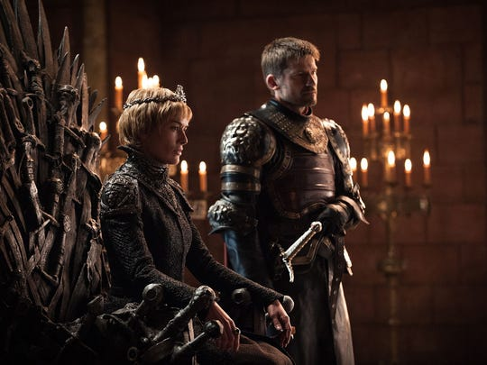 The Iron Throne, seen here with Queen Cersei Lannister (Lena Headey) and her brother, Jaime (Nikolaj Coster-Waldau), acted as a literal double-edged sword, with recent Westeros rulers inflicting pain on their foes before dying their own horrible deaths in HBO's 'Game of Thrones.'