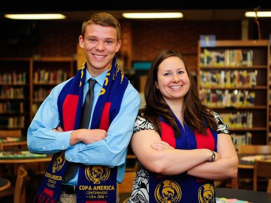 Student  Alexander Almer, left, with Mentor Natalie