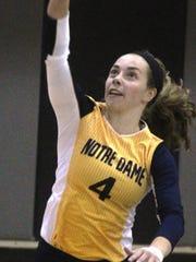 Morgan Hentz serves for Notre Dame.