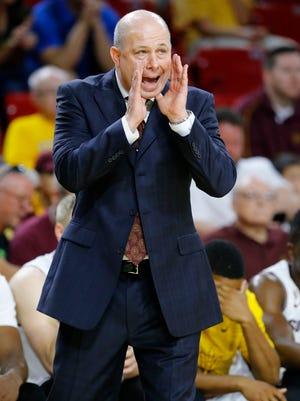 Arizona State Sun Devils coach Herb Sendek yells during a game against the California Golden Bears on Saturday, March 7, 2015, in Tempe.