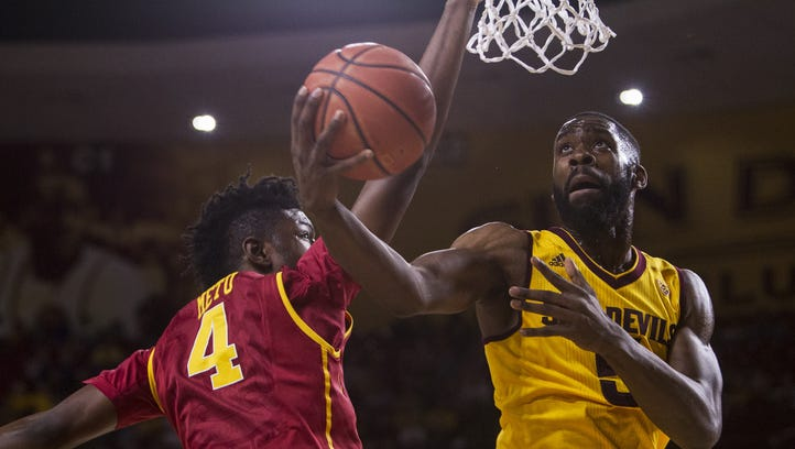 Arizona State's Obinna Oleka goes up for a layup against USC in the first half on Friday, Feb. 12, 2016 at Wells Fargo Arena in Tempe, Ariz.