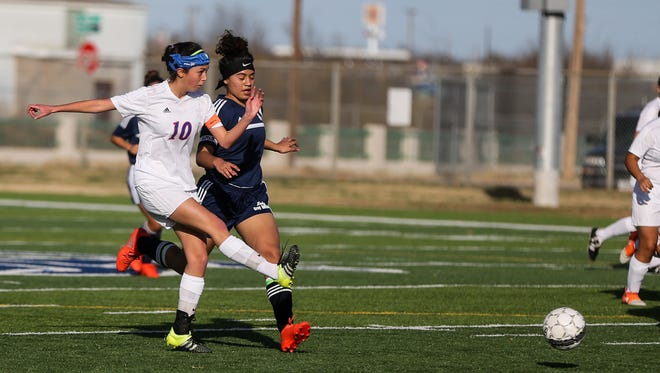 San Angelo Central's Briana Caudle (left) was named Midfield MVP on the 2018 All-District 8-6A Girls Soccer Team.