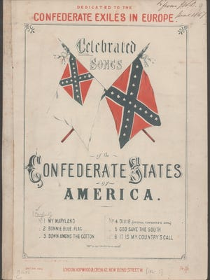 """This image provided by the Library of Congress shows the cover to a collection of Confederate songs published in 1861 which includes """"Maryland, My Maryland."""" In March 2018, a majority of Maryland senators hope they've found a compromise to handle the state's controversial state song: send it into retirement without erasing all recognition. The state senate says its sensitive pre-Civil War references to """"Northern scum"""" and a despotic President Abraham Lincoln don't reflect Marylanders' values today. The bill now goes to the House."""