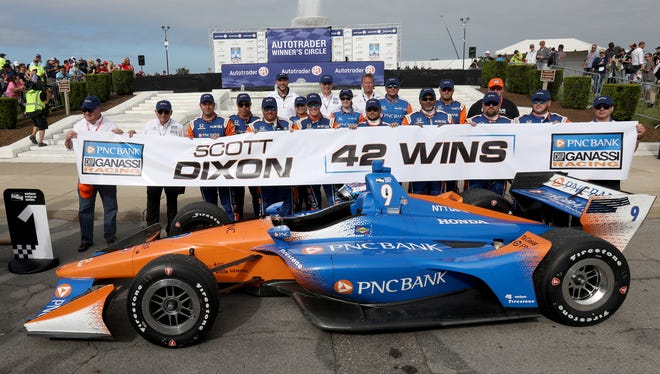 Scott Dixon of Chip Ganassi Racing celebrates with his team after winning race one of the 2018 Chevrolet Detroit Grand Prix on Belle Isle on Saturday.