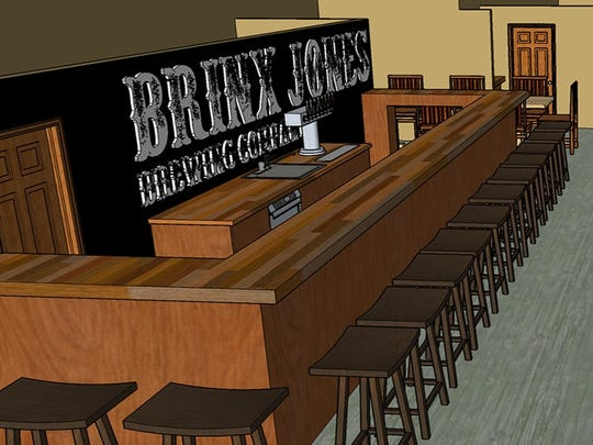 An artist rendering of the bar area inside Brinx Jones Brewing Company, planned for a summer opening on Landis Avenue.