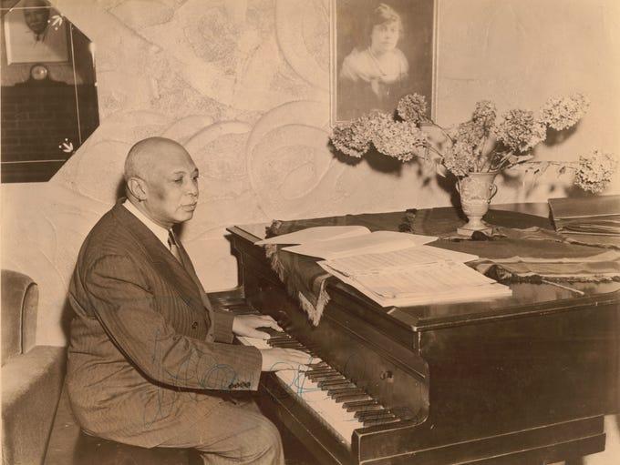W.C. Handy at Piano. (Henderson County Public Library)