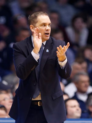 Butler coach Chris Holtmann encourages his team during an 83-73 victory over DePaul on Feb. 7, 2015 at Hinkle Fieldhouse.
