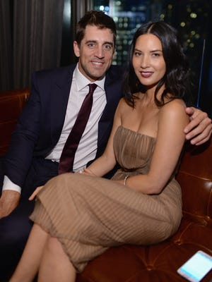 "Olivia Munn, shown here with boyfriend Aaron Rodgers, is making the press rounds this week to promote her new film, ""Ride Along 2."""