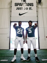 Senior MSU safety David Dowell, left, and younger brother Andrew, a junior, pictured Monday, Aug. 7, 2017, on media day at the the Skandalaris Football Complex in East Lansing.  [MATTHEW DAE SMITH/Lansing State Journal]