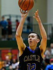 Castle's Alex Hemenway (12) shoots a jump shot as the