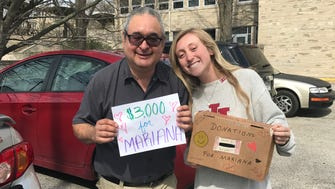 Indiana University freshman Becca Richter helped raise more than $8,000 to help pay for a surgery for Mariana, the daughter of residence hall cashier Oscar Arreazada.