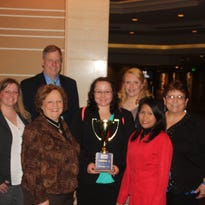 Seven Lakeshore Technical College students competed in the Business Professionals of America National Leadership Conference in Anaheim earlier this month. From right to left are Jaime Adkins, program adviser Gordy Rosploch, Linda Penke, Rebecca Gagnon, Brianna Sprague, Grace Janke and Geri Gilbert. Not pictured is Atiq Khan.