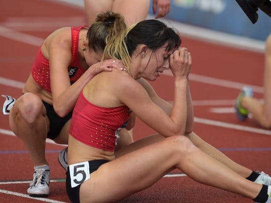 Emily Infeld (left) and Shelby Houlihan (right) react