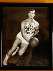 Naples resident Bob Young, 80, was a member of the 1957 undefeated University of North Carolina team that beat University of Kansas in the NCAA national championship. Here, is Young during his junior year. (Scott McIntyre/Staff)