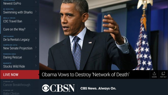 CBSN, a digital news channel run by CBS News, is one of few streaming live news channels.