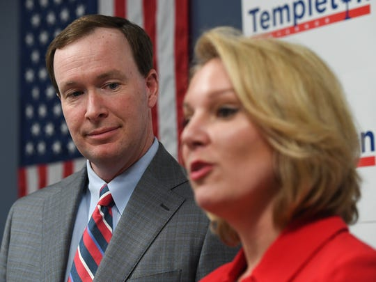 13th Judicial Circuit Solictor Walt Wilkins stands with Gubernatorial candidate Catherine Templeton as she announces his as her running mate during a press conference at her Greenville campaign headquarters Tuesday, May 22, 2018.