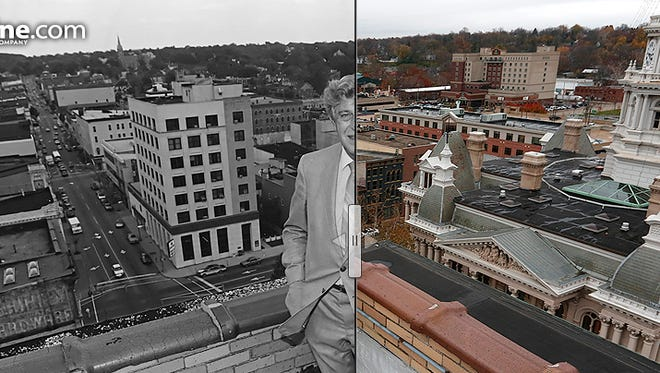 Lafayette Mayor James Riehle surveys the city from atop the Lafayette Life building downtown. Photo taken Sept. 29, 1986.