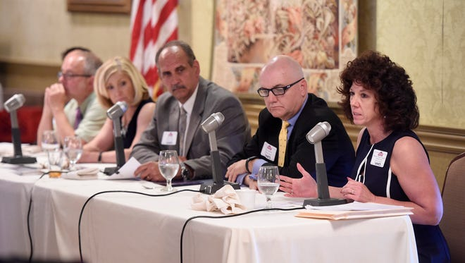 Mayor Sherry Capello talks about the preliminary steps facing the board. The Business Improvement District Board met to update Community of Lebanon Association members at a luncheon, Wednesday, May 25,  held at Lebanon Country Club.