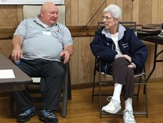 Joanne Borgel sits and chats with Bob Straw, York County's