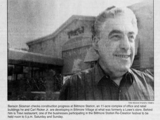 Benson Slosman outside of the Biltmore Station development in 1997.
