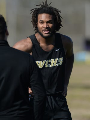 Winchester's Kiante Enis after competing in the 100 m dash Wednesday, April 13, 2016, in Hagerstown.