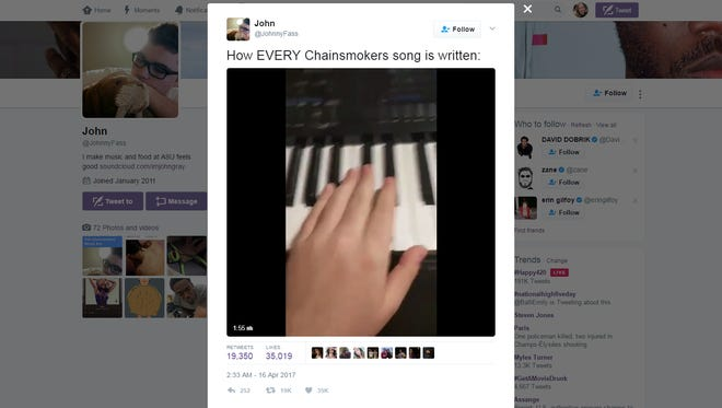 ASU student John Fassold's video parodying songs by The Chainsmokers went viral the week of April 16, 2017.