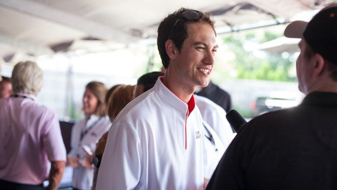 Joey Logano speaks with members of the media during the Team Penske Indianapolis 500 Pace Car Display on Thursday, August 13, 2015 in Royal Oak.