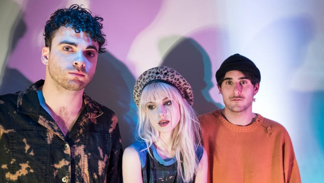 Taylor York, left, Hayley Williams and Zac Farro of Paramore.