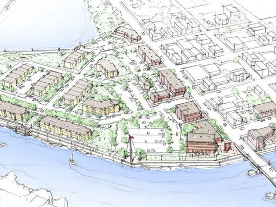 Conceptual drawing of the Canadian National Peninsula in downtown Manitowoc.