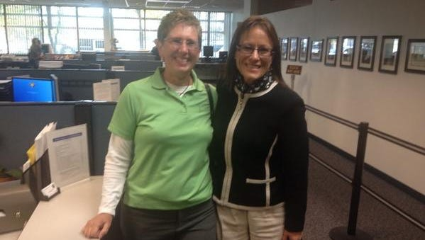 The first same sex couple to apply for license in Washoe: Karen Vibe, right, and Karen Goody
