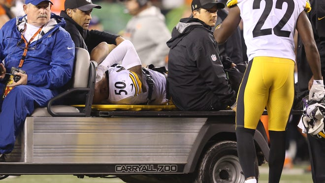 Pittsburgh Steelers linebacker Ryan Shazier was carted off the field after an injury against the Cincinnati Bengals on Monday Night Football Dec. 4, 2017.
