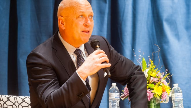 Major League Hall of Famer and former lifetime Baltimore Oriole Cal Ripken Jr. speaks to Pocomoke High students on Wednesday afternoon at Pocomoke High School as part of the #WeWantCal campaign.
