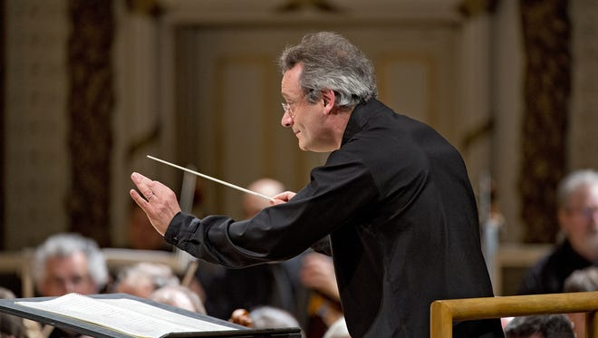 "CSO Conductor Louis Langree leads the Cincinnati Symphony Orchestra through the open piece by Varese called ""Tuning Up."""