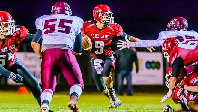 Nick Spitzley (9) and Portland remain No. 2 in Division 5 in this week's Associated Press state football poll.