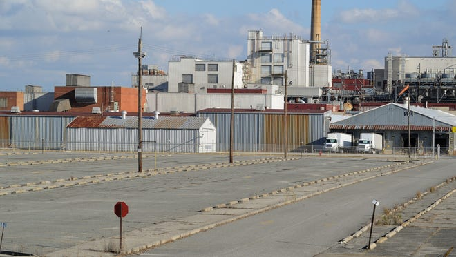 View of the Invista plant parking lot in Seaford.  Invista is weighing options for its Apparel & Advanced Textiles business.