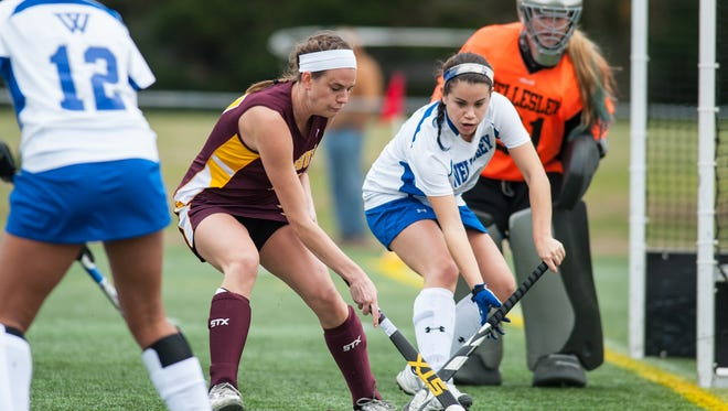 Salisbury forward Courtney Jantzen (17), pictured here at last year's NCAA Division III field hockey tournament, scored two game-winning goals for the Sea Gulls this past week.