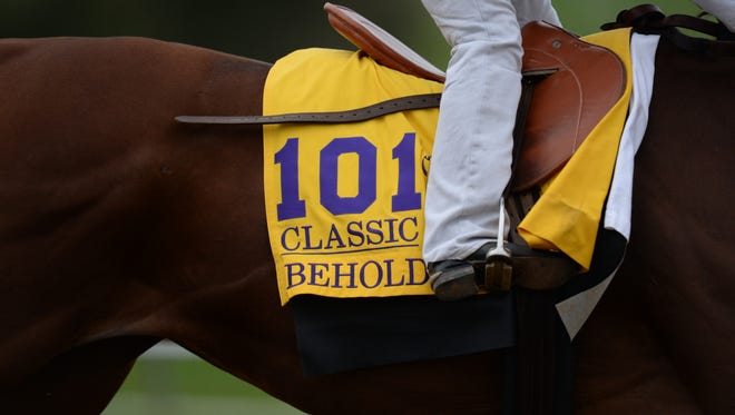 Beholder during the morning Breeder's Cup training at Keeneland in Lexington, Ky., on Monday, October 26, 2015. Photo by Mike Weaver