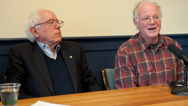 U.S. Senator Bernie Sanders (I-Vt.), left, joined by Ben Cohen, Ben and Jerry's co-founder, held a press conference together in Sanders' office in Burlington in 2010.