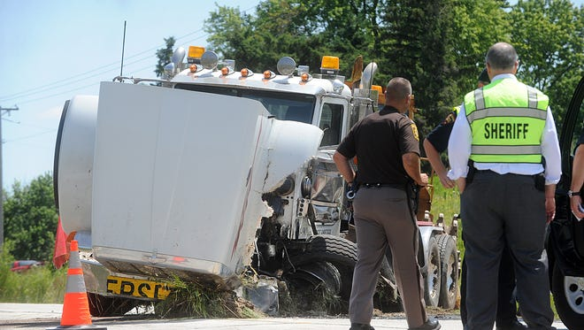 The truck driven westbound on State 23 by Randy A. Miles came to rest in the westbound lane after a crash on July 15, 2015.