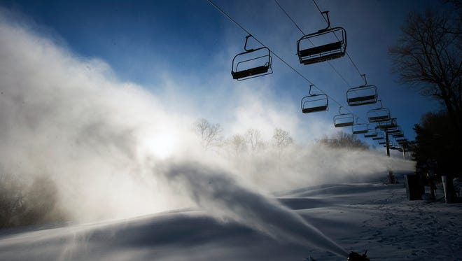 """Roundtop Mountain Resort started making snow on Friday, but the prime snow-making weather came on Monday. """"We have been making it around the clock since,"""" said Chris Dudding, marketing director."""