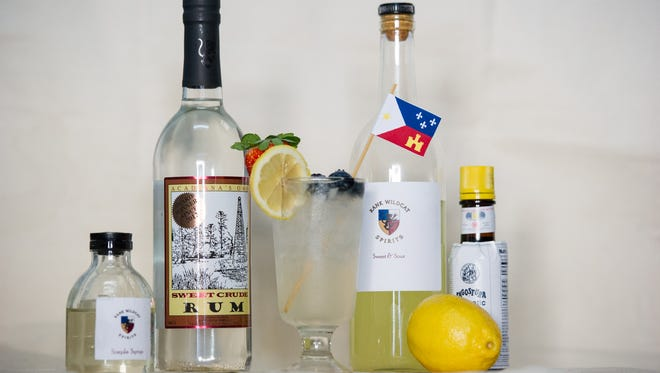 Ingredients used to make Lafayette's official cocktail, the rouler, are pictured.