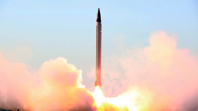 This file picture released by the official website of the Iranian Defense Ministry on Sunday, Oct. 11, 2015, claims to show the launching of an Emad long-range ballistic surface-to-surface missile in an undisclosed location. Iran tested a ballistic missile again in November 2015, a U.S. official said Dec. 8, describing the second such test since the 2015 nuclear agreement.
