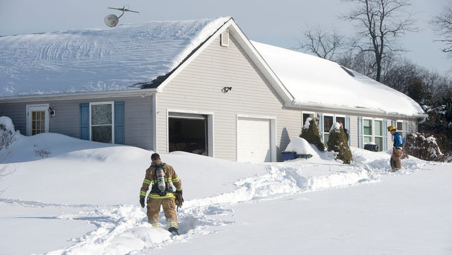 Scene of Newberry Township fire Monday.