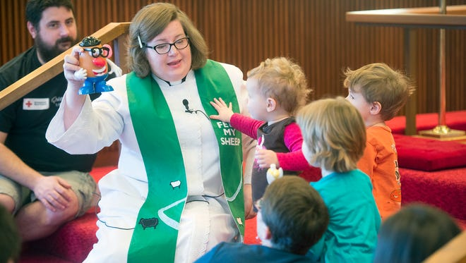 Pastor Laura Haupt gives the children's sermon at Luther Memorial Lutheran Church in Spring Garden Township.
